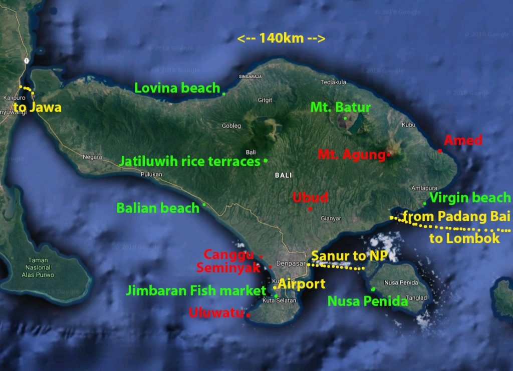 Bali map satelite
